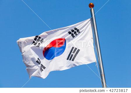 South Korea flag over blue sky 42723817