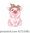 Funny pig wearing leopard bandana. Isolated on white 42723981