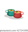Ceramic pots of onion soup, delicious dish of French cuisine vector Illustration on a white 42724398