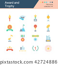 Award and Trophy icons. Flat design. 42724886