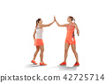 Young women badminton players as winners posing over white background 42725714