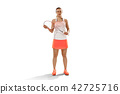 Young woman badminton player standing over white background 42725716