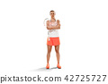 Young woman badminton player standing over white background 42725727