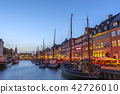 Skyline at Nyhavn harbour, Copenhagen Denmark 42726010