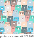 Hand Drawn Bears Vector Pattern Background. Fun Do 42726169