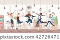 Happy Office Workers Jumping. Vector Illustration. 42726471