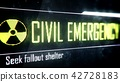 Civil emergency, seek fallout shelter screen text, 42728183