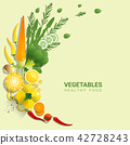Flat lay Fresh vegetables on green background 42728243
