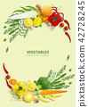 Flat lay Fresh vegetables on green background 42728245
