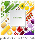 Flat lay Fresh vegetables on white table 42728246
