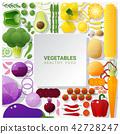 Flat lay Fresh vegetables on white table 42728247