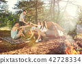 Party, camping of men and women group at forest. They relaxing 42728334