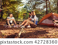 Party, camping of men and women group at forest. They relaxing 42728360
