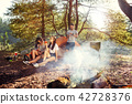 Party, camping of men and women group at forest. They relaxing 42728376