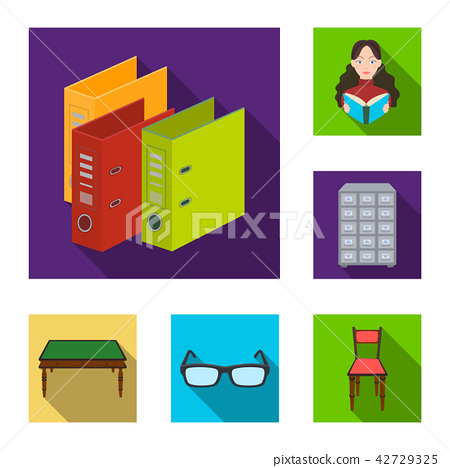 Library and bookstore flat icons in set collection for design. Books and furnishings vector symbol 42729325