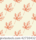 Pattern with orange maple leaves. 42730432