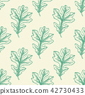 Seamless pattern with green oak leaves. 42730433