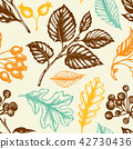 Seamless pattern with berries and falling leaves. 42730436