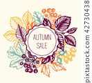 Vintage autumn floral background with leaves 42730438