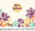 Autumn background with leaves and fruits 42730439
