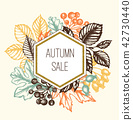 Vintage autumn floral frame with leaves 42730440