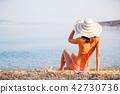 Beautiful woman in bikini at the seaside 42730736