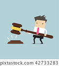 Businessman hold a big gavel in hands for justice. 42733283