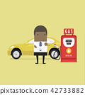 African businessman and Gas station. 42733882