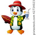 Cartoon penguin with cocktail drink and surfboard 42734023