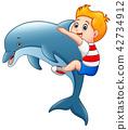 男孩 卡通 海豚 42734912