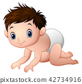 Vector illustration of Cute baby boy crawling 42734916