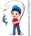 Vector illustration of Cute cartoon boy fishing 42734927