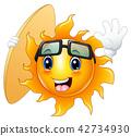 Happy cartoon sun character with surfboard 42734930