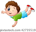 Cute little boy cartoon prone 42735519