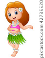 Cute cartoon girl dancing Hula Hawaiian 42735520