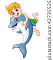 Cartoon boy playing with dolphin 42735525