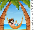 Cartoon little boy relaxing on hammock beach 42735530