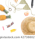 Summer tropical concept. Pineapple fruits, glasses 42736602