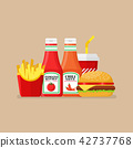 Hamburger french fries and soda with sauce 42737768
