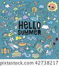 illustration set of summer doodles elements. 42738217