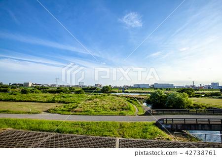 Tama river bank Tokyo suburban natural landscape 42738761