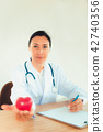 Portrait of woman doctor with holding red heart 42740356