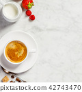 Coffee on white marble background 42743470