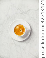 Coffee on white marble background 42743474