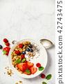 Bowl of homemade granola with yogurt and fresh berries 42743475