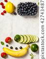 Flat-lay of organic fruits 42743487
