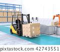 電鏟車運載的貨物板台的圖像對工廠 42743551