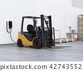 在物流倉庫裡被充電的電鏟車和運輸機器人的圖像 42743552