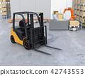 電鏟車的圖像在後勤學倉庫裡 42743553