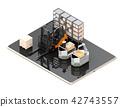 工業機器人,AGV,在數字式片劑的鏟車的圖像。工廠自動化的概念 42743557